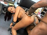 Sexy little Dena Caly gets her tiny black twat tongue fucked. The guy stands her up to drill her throat with his erection before stuffing every inch in her wet slit. The slut then jumps off to take a load in her mouth.