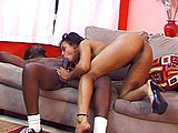 A black guy is resting on the couch and Pleasure Bunny wakes him up with a blowjob.  She sucks his big black cock to attention.  She mounts up and rides him in a couple positions until he finally takes over and pounds her pussy in mish and doggy.  He strokes his load off all over her face.