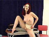 This clip begins with a blonde, classic Vegas showgirl doing a slow and lurid striptease for you, and eventually, you see a set of mind boggling tits that are absolutely enormous. The show goes on to feature a striking, minxy little redhead in a slinky nightie. She undresses slowly as well, removing