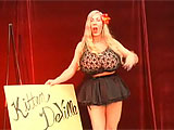 Kitten DeVille is back in another classic striptease. Shes a pro showgirl who loves to dance and tease you. Blonde, tall and sexy, Kitten quickly gets down to her skivies, which are gold sequins and glitter, swingy thong and shiny pasties over her little nipples. More teasing as the show goes on,