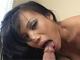 Masturbating and playing with her own tits isnt enough for this slutty Asian. Shes all tarted up and ready to be fucked by a hard, fast cock. First, though, she does some serious dick sucking, plunging her costars long dong way into her gullet and choking on his girth. Hes rough with her