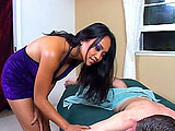 Loni is a cute Asian masseuse that offers full service.  She starts with stroking and then sucking the guy's cock.  She titty fucks him and then climbs on top to give him the real thing.  They fuck in a few positions and he gives Loni a messy facial.
