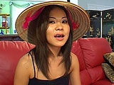 In this scene, Kammy is a cute Asian chick in a traditional Asian hat.  She finds a banzai meat puppet to play with and he starts by stripping her clothes off to eat and play with her bald pussy.  She then drops to her knees to suck on his dick.  Kammy rides cock and sucks her juices off, and then t