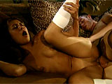 Catalina is a young and petite thing that gets with her boyfriend on the couch.  These two kiss and grope until things heat up.  Catalina gets her bald twat licked, and she is talked into sucking some dick in return.  She then is coaxed into taking that dick into her tight teen twat.  This kid is go