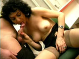 A cute old she male is getting fucked silly. After stripping off her lingerie, she hits the floor to engulf her man's meaty cock in her watery mouth hole before plunging her bung hole.