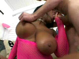 Candace Von, a big tittie black girl, is getting pounded. Before having her pussy nailed, she whips this guy's cock out and lets him go to town on her big melons.