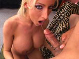 Nadia Hilton, a hot as fuck blonde, has her sweet mouth wrapped tightly around this guy's hard pack. She gets it in her pussy before getting her big beautiful tits covered in cum.