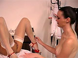 Catalina Lamour is getting an exam from Veronica in this scene.  She checks out her pussy thoroughly with her fingers and her tongue.  Veronica plays with her big pussy lips and inserts a speculum to aid in her viewing.
