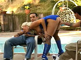Two guys are waiting poolside and they get to fuck Nicki Hunter when she shows up.  She deep throats their cocks outside, and then they abuse her holes with fingers, toys, and dicks.  Watch this slut get DP'd with a dick and a dildo, and then get a double dicking in the dumper.