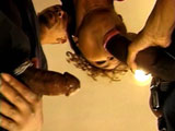 A hot black girl is gets her ass stuffed. This horny slut gets to tackle two well hung studs in this clip.  They occupy her mouth, pussy and asshole with both of their cocks.