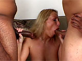 First this blonde slut is all by herself, playing around with her hairy twat. But she looks up to see a massive black dude jerking it and watching her. After he eats her pussy and licks out her asshole, she shows her cock sucking skills by seriously deep throating his enormous junk. Without warning,