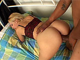 Shes cute, blonde and loves big, thick, hard black cocks. The guy that appeases her is huge, but he takes a lot of extra time to slop up her snatch with his tongue. He needs to get it very wet, because he is about to give her a serious drilling with his big unit. After fucking and sucking and spa
