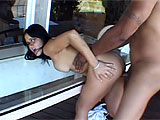 This interracial couple wastes no time getting their freak on outside on the patio. He takes care and time with her pussy, kissing and licking it to make her even hornier for his heavy dark meat. When shes dripping wet, he slides into her and starts pounding away in missionary and then from behin