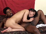 Sweet, sassy and white, this petite and lithe brunette is wearing a track suit and looks very athletic. She strips down for her black costar, and shows him her perfect body and manicured pussy. They fuck on the couch and he eats her out, but this is a pretty tasteful clip. There are some coitus clos