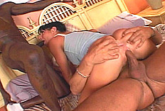 Arianna Jollee is sweetly making out and getting frisky with her man in bed, but this interlude turns into a hot and nasty threesome quickly. She ends up in a sexy, threesome pumpathon with two black guys stretching her cunt and asshole at the same time. She also spends time tonguing and sucking bot