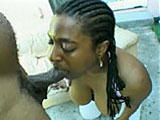 A hot full figured black girl has her beautiful mouth wrapped around a large cock. After her spectacular mouth service, she downs a big load of cum juice.