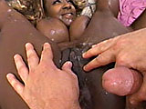 It's an all out, interracial gangbang when Sierra, the big boobied black queen, takes on a group of dudes of all colors. Most are white guys in camouflage, though. She bares her huge natural tits and kneels down to examine all their cocks. The first lucking guy goes behind her to start the fuck fe