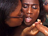 Two black dyke sluts start getting it on, playing with a dildo, when a white guy gets involved. The one lucky black girl is lucky enough to have her big purple clit licked by her girl friend, while being fingerblasted by the dude. He plants his cock in her mouth and then fucks her while her buddy pl