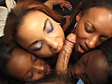 Four black beauties and a white guy engage in an orgy, getting one another off in the most fun ways possible. The ladies lick each others tits and pussies and the white guy is in chocolate velvet heaven with his white meat getting slobbed by each lovely girl. He spanks their rumps and watches the