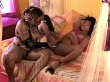 A very attractive Asian girl, Arcadia Davida, gets it on with a chunky black babe named Suckable.  They meet up in a bedroom to relieve their hunger for fresh pink poontang. They thoroughly munch each other's carpet and embark in some deep dildo penetration too.