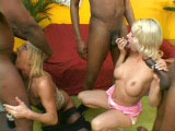 Two very attractive blondes are getting fucked by three big dick black guys. These two girls have themselves enough cock to fill all their holes.  There's a lot cock sucking, DP, and a shit load of cum at the end.