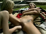 In this scene, Amberlina Lynn and Brooke Banner get together for some fun in the sun.  They eat pussy, and Brooke dons a strap on to fuck Amberlina with.  They finish in a pussy lapping 69.