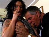 A tattooed hottie, Vandalia, gives this guy the ride of a lifetime. He fucks her in the mouth and pussy while she smokes a cig.  It ends when he busts a nut in her mouth.