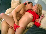 A skinny blonde slut with little A-cups tits grabs a hold of a hard cock with only one purpose, to fuck it! She takes an intense tongue fucking, followed by a ride on the dudes cock. With the help of some lube, the dudes fat cock easily fits in and out her ass-hole.