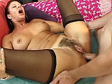 This scene features older whore, Vanessa Videl.  She wants to get fucked in the ass, but first gets herself ready by playing with her hairy pussy, fingering her asshole, and shoving a big black dildo up her holes.   A guy comes in and he takes over sliding the dildo in and out of her ass while she s
