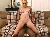 Busty blonde Serena Sinn slips out of her braw to show off her big breasts as she gets her twat licked by a black dude.  He then slips his meat stick into her mouth before fucking her beef trap.