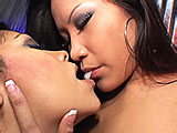 In this scene, Christina Aguchi and Cassandra Cruz double up on a lucky guy.  They share his big cock and suck and stroke him off until he blows his load in Cassandra's mouth.  She swaps it back and forth with Christina.