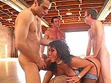 Ava Devine is a gangbang whore! She has to be happy because 3 large cocks will fuck her brains out this time around. Three hot loads blast her face, after all the hard DPing.