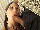 In this blowjob scene, Lena Ramon is excited to be giving head to a celebrity.  Not sure who she thinks this is, but she does put in a good effort all the way to the end when this guy strokes off onto her chest.