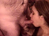 In this scene, amateur girl Kai Wu takes on the hairy geek.  They quickly get naked and Kai is soon on her knees giving this guy a nice blowjob.  He shoots his load all over her perky breasts.
