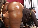 This black chick has a big ass and isn't afraid to show it off.  Beauty Dior gets her ass oiled up by her man and he shoves his cock in her pussy from behind so he can watch her jiggle while working it.  She tastes her pussy juice from his cock and then continues to get pounded in her shaved snatc