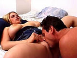 This scene features Daphne Rosen.  She is a larger chick, but to go along with that are her 34G tits.  You read that right.  They're huge.  She does a little tease and then gets to work on sucking cock and licking balls.  She gets fucked in her tight pussy in a coupe of positions, and then takes t