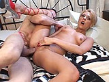 Amber Wild gets her ass nialed by a large meaty tool! This hot blonde starlet takes a load in her mouth after being fucked in her ass vigorously.
