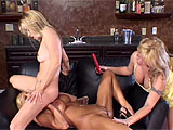 This clip begins with two very well kept, older blondes making out and admiring each others hot, hard bodies. They taste nipples and stroke each others tits, but the lucky gal leans back, opens wide and gets her entire bald slit devoured by her experienced girlfriend. Just as shes getting r