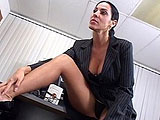 Veronica Rayne calls a young subordinate to her office to discuss poor performance.  She works out an arrangement for him to keep his job if he takes care of her stress.  He starts by licking her pussy and asshole, and then she gets his cock wet to stick it inside her pussy.  They fuck around the of