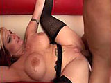 Brittany Blaze isnt getting it from her husband much anymore, so she wants some black cock because she thinks it tastes sweet.  She wants to eat that thick black load and wear it.  After masturbating and getting herself off for the camera, she is joined by a black stud, and she immediately starts