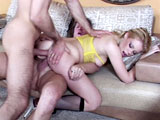 Hot blonde, Gia Paloma, takes on two dudes in this clip. The guys take turns banging her mouth, pussy and ass before cramming their cocks into both her ass and pussy at the same time. The one guy bathes her face in love lotion as the other dude unloads in her ass.