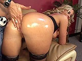 This scene starts off with Kylie Worthy getting her round and juicy ass oiled up and spanked.  Her bald pussy is finger banged, and then she sucks dick.  She rides the guy cowboy, with her big tits bouncing up and down.  Kylie gets her wet pussy pounded hard, and she is sure to suck her juices off t