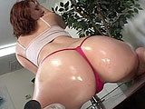 Cindy is a red headed slut here to audition.  She shows off her shit and works the pole like a champ.  The guy fingers and eats her shaved pussy and she sucks on his big cock.  They fuck on the stripper stage until Cindy is left with cream all over her ass, dipping down over her holes.