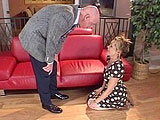 Kelly Leigh is on her knees begging for her husband's job.  The boss humiliates her and treats her like the whore that she is.  He pounds her pussy and shoots his load all over her feet.