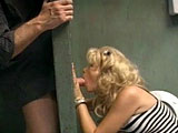 This blonde slut is so fucking horny that it takes barely anything to make her cum. The dude in this scene fucks her throat after watching her play with her geyser of a pussy.  After fucking her twat in several positions to make her erupt, he blows a load on her left foot.