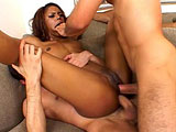Marie Luv is an ebony beauty, sporting a red bikini, and is extra horny.  She strolls in to the house where two guys are ready and waiting to satisfy her craving for cock.  Marie gives them both sloppy blowjobs, with her drool dripping all over.  She gets both of her fuck holes filled with big cock