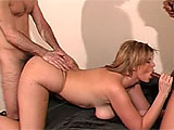 In this scene, two guys team up on Lisa Sparxxx.  This chubby chick sucks their cocks and they trade off fucking her bald twat.  Then this whore asks for both at the same time.  They pump her holes and blow goo all over her fat titties.