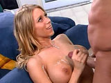 Hot ass blonde, Katie Morgan, is getting her little twat plowed by a big cock. She strips out of her pink outfit revealing her perfect body and round titties.  Next, she jerks this dudes hard shaft before going down on him. Then, the guy tongue fucks her box prior to drilling it. 
