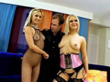Michelle Sweet does a tease in a fishnet bodysuit, then goes in to the other room with Aralyn Barra.  They are doing a photo shoot when a contest winner shows up.  His grand prize is a to be in the photo shoot with these two hot blondes, but to his surprise it turns in to a threeway.  They share suc
