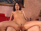 This horny housewife gets with a young guy on her couch while her husband is away.  Syren Demar, a.k.a. Mrs Robinson, seduces this guy and starts sucking his cock.  She mounts up and rides it hard in her wet pussy and tight asshole. In the end she begs for the cum and gulps it down.